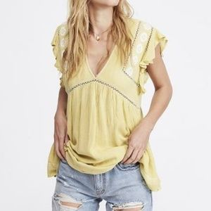Free People Falling Water Embroidered V-Neck Tunic